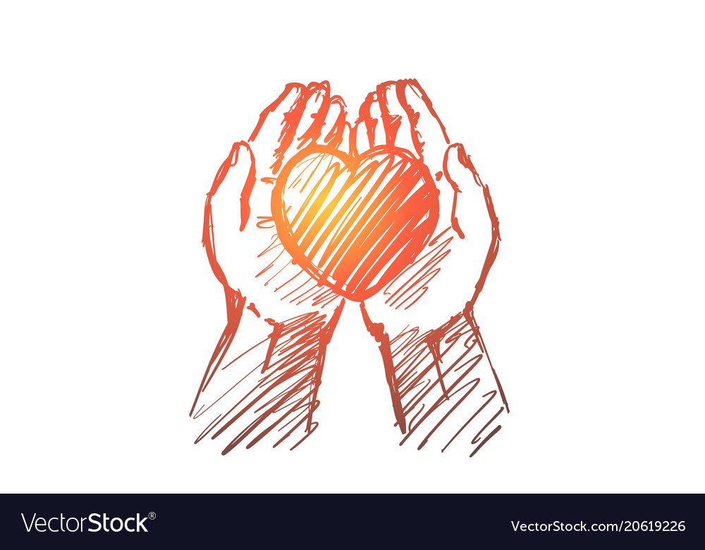 Hand drawn heart in human palms