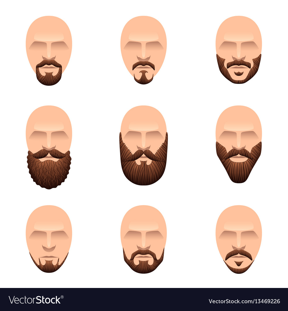 Hipster mustache and beards icons set
