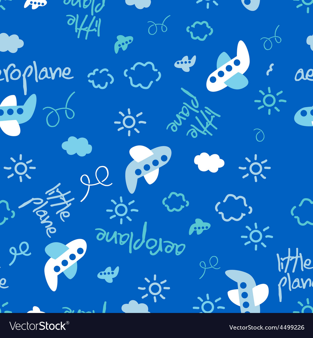 Little plane repeat pattern vector image
