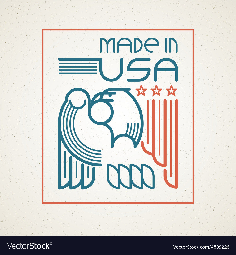 Made in usa symbol with american flag and
