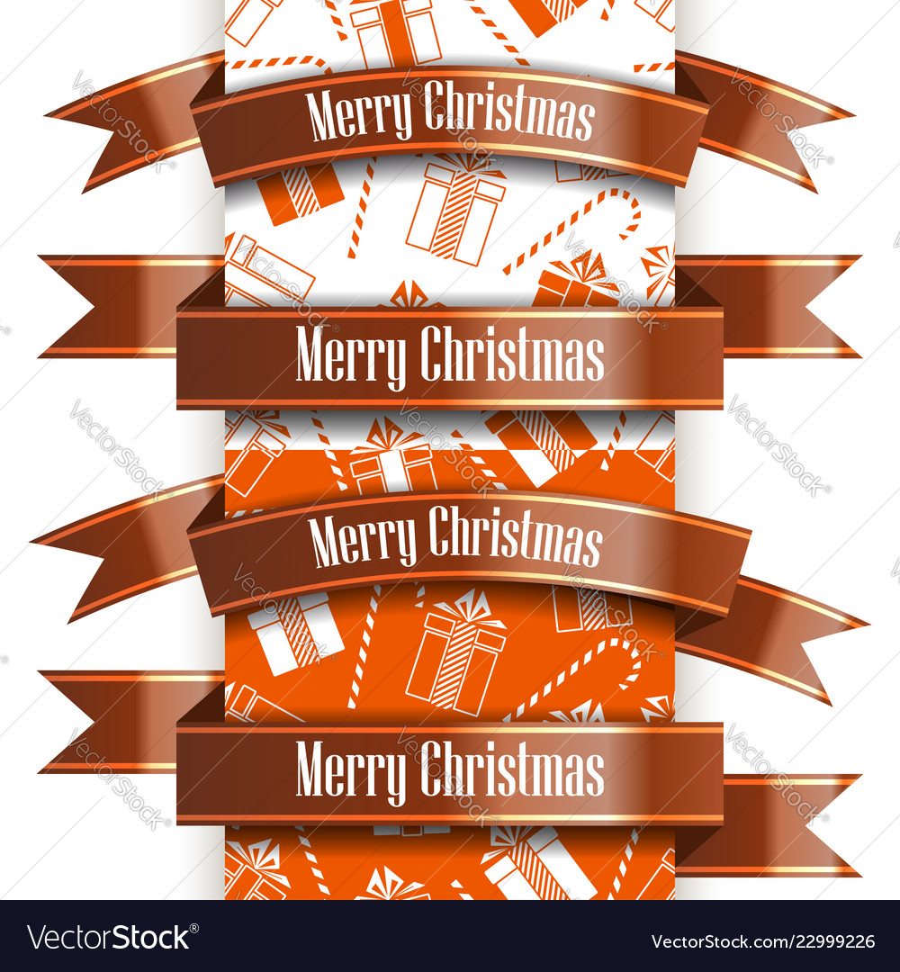 Merry christmas ribbon set and seamless pattern