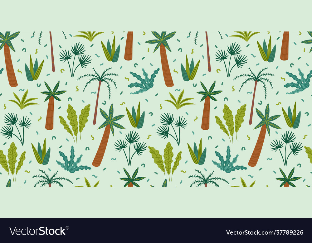 Seamless pattern with abstract tropical plants