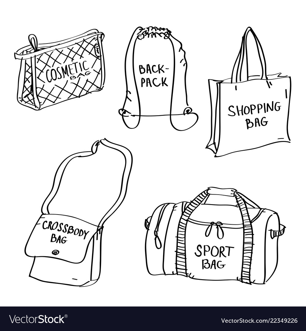 Set of hand drawn bags doodles isolated on a white