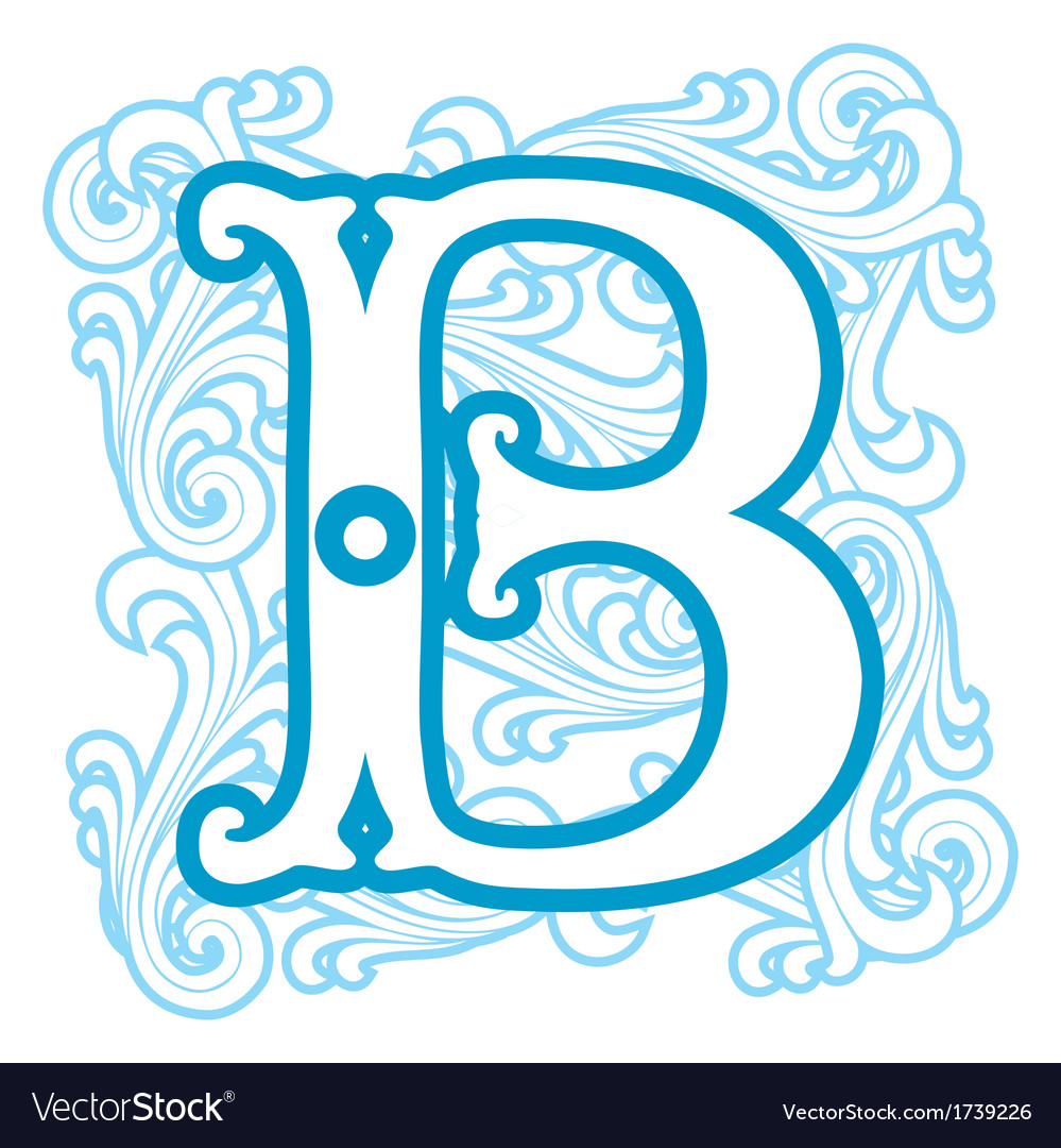 Winter Vintage Letter B Royalty Free Vector Image