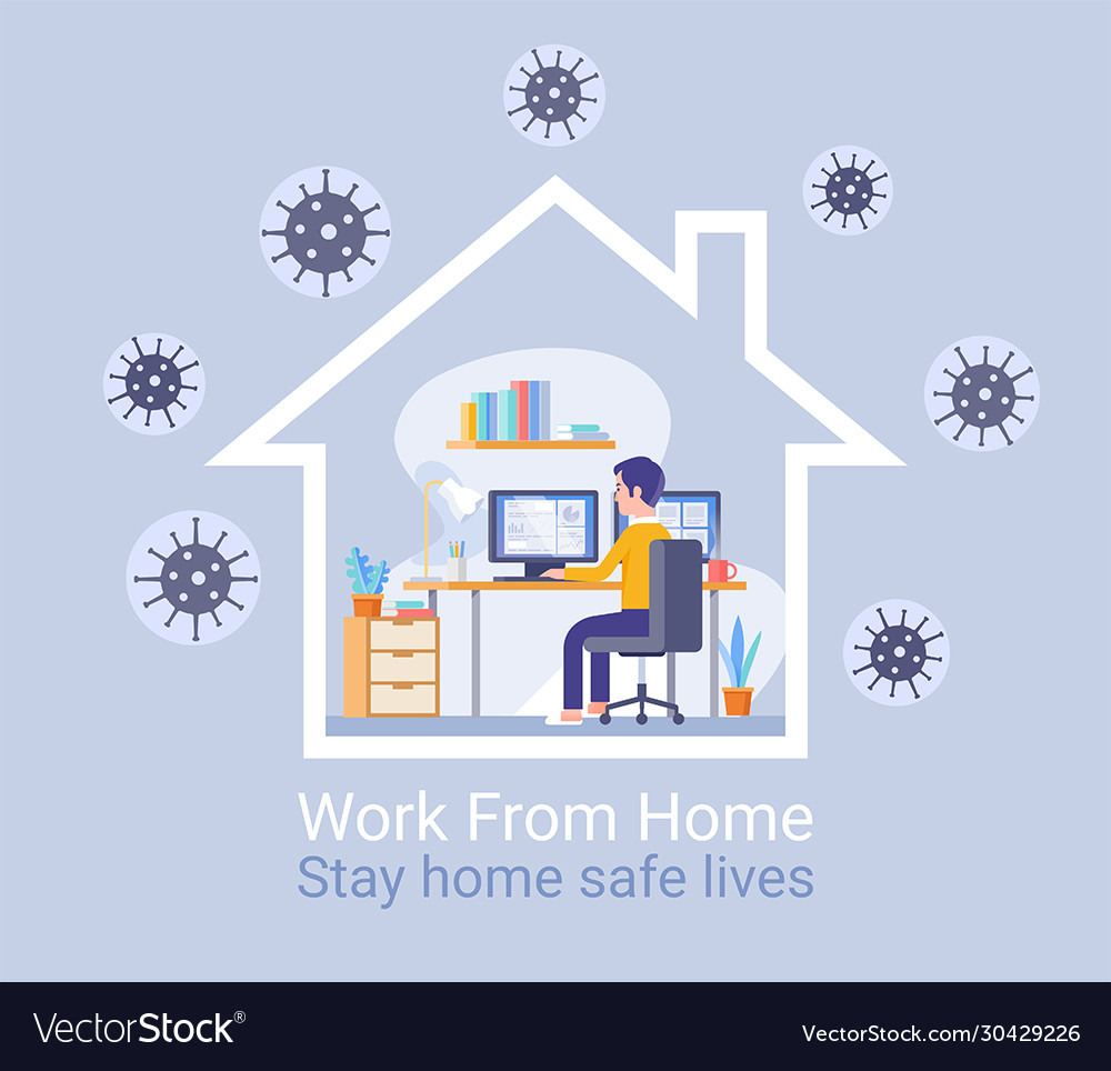 Work from home protection from virus concept