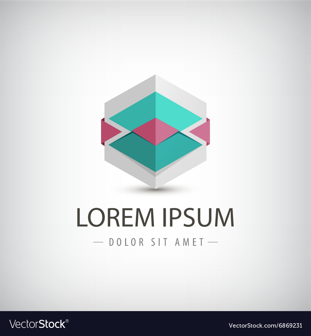 Abstract 3d origami logo icon isolated