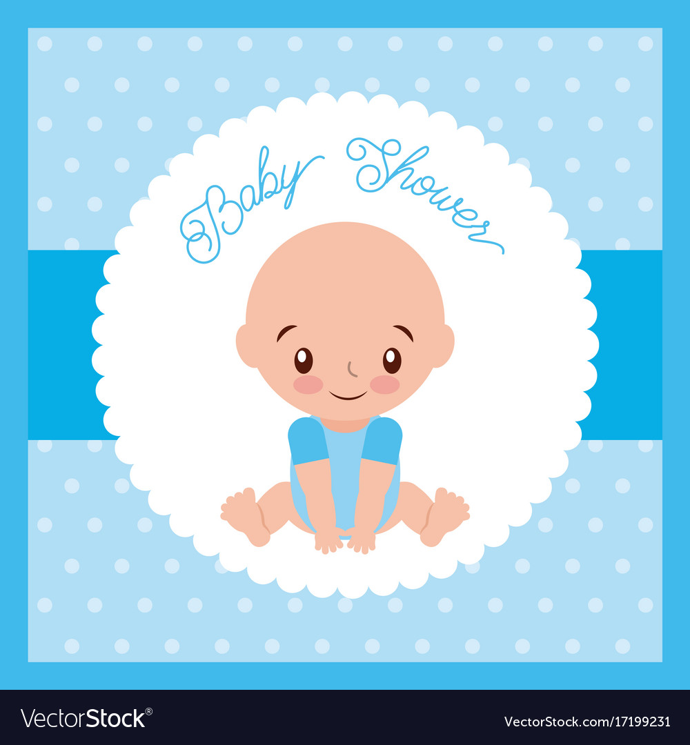 Baby shower boy greeting card blue background vector image m4hsunfo
