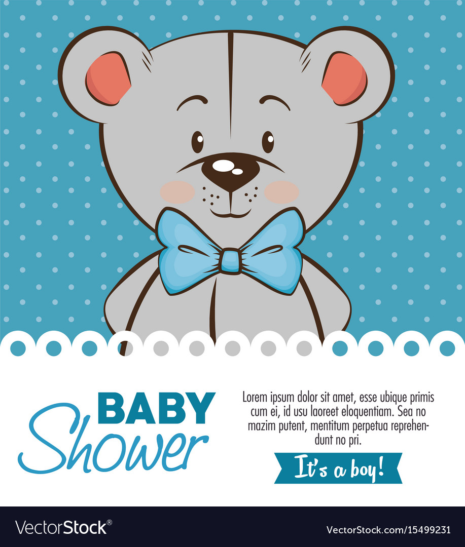 Baby Shower Boy Invitation Card Royalty Free Vector Image