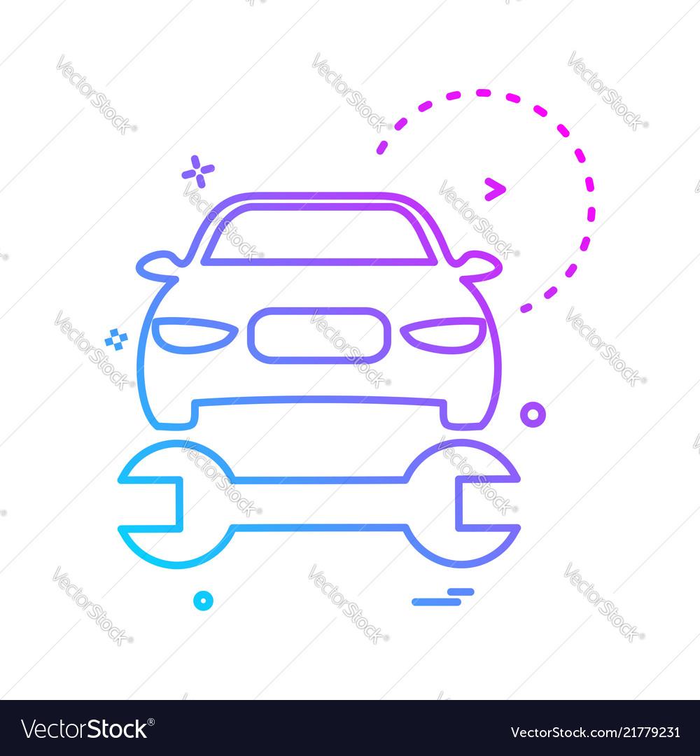 Car wrench repairing icon design