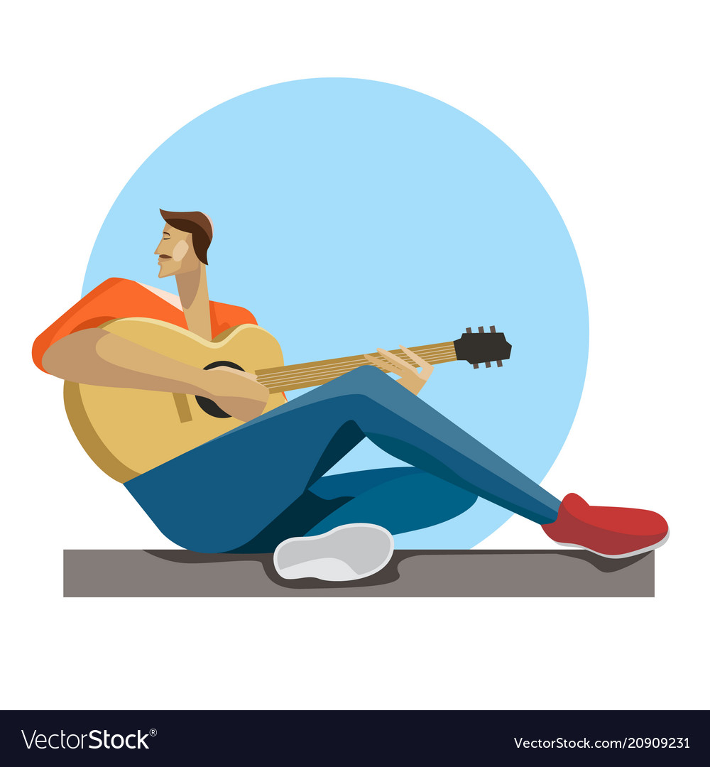 Caucasian musician sitting with the guitar in