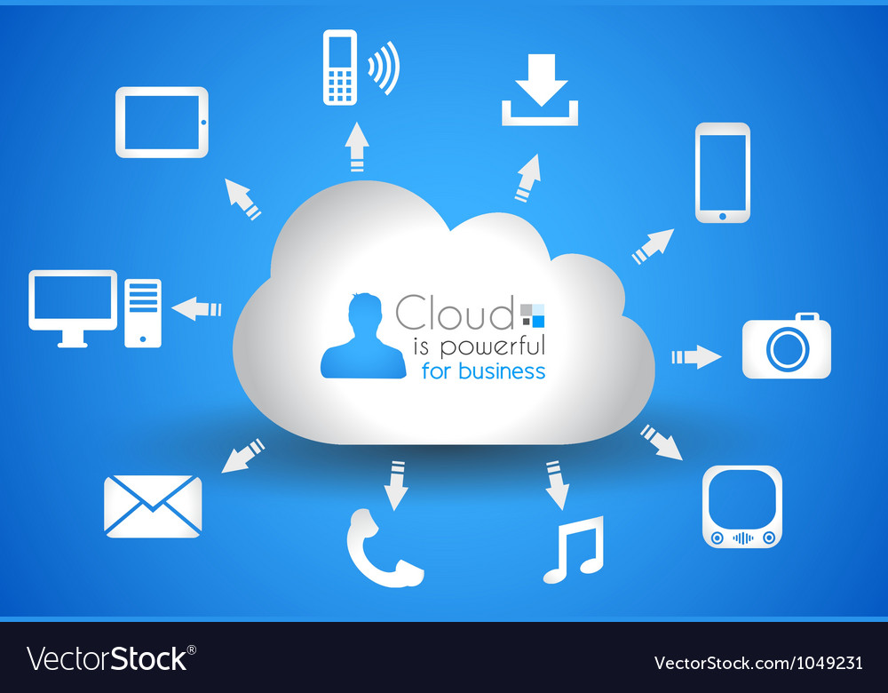 Cloud Computing concept background with a lot of