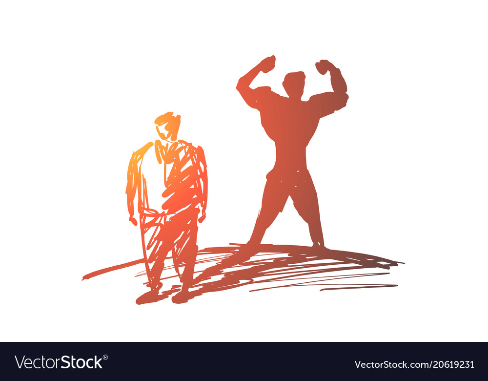 Hand drawn fat man with strong body shadow behind