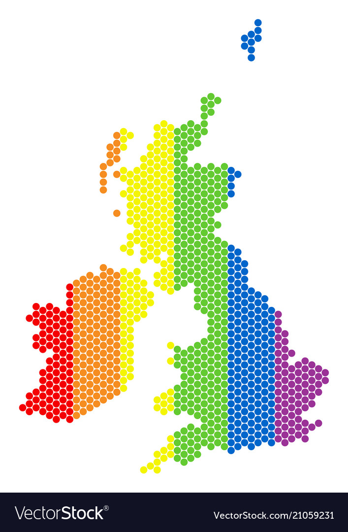 Britain And Ireland Map.Lgbt Spectrum Dotted Great Britain And Ireland Map