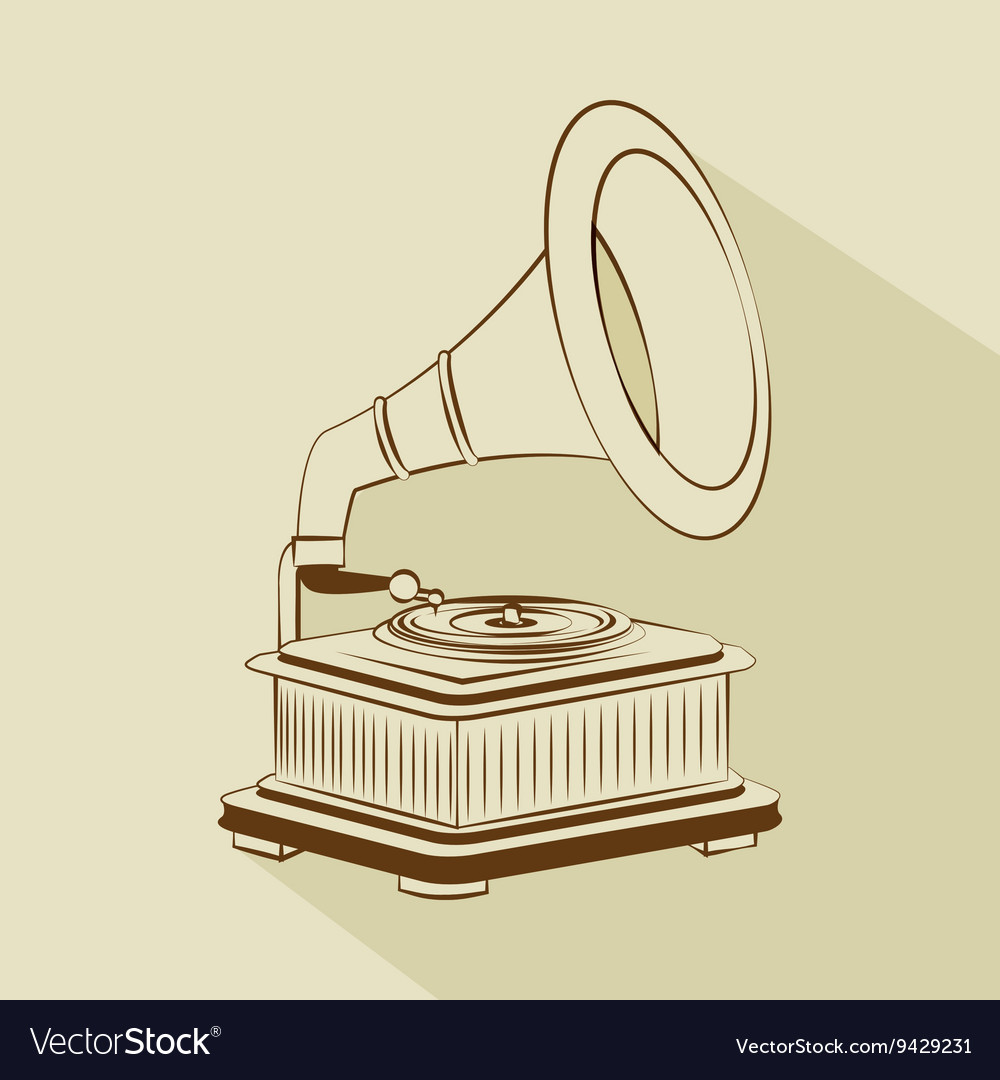 Old gramophone drawing isolated icon design