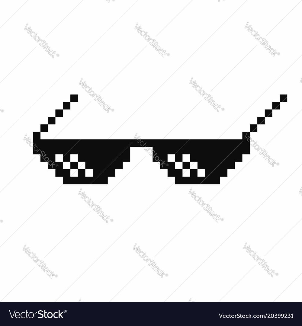 1e6829c8 Pixel art glasses thug life meme glasses isolated Vector Image