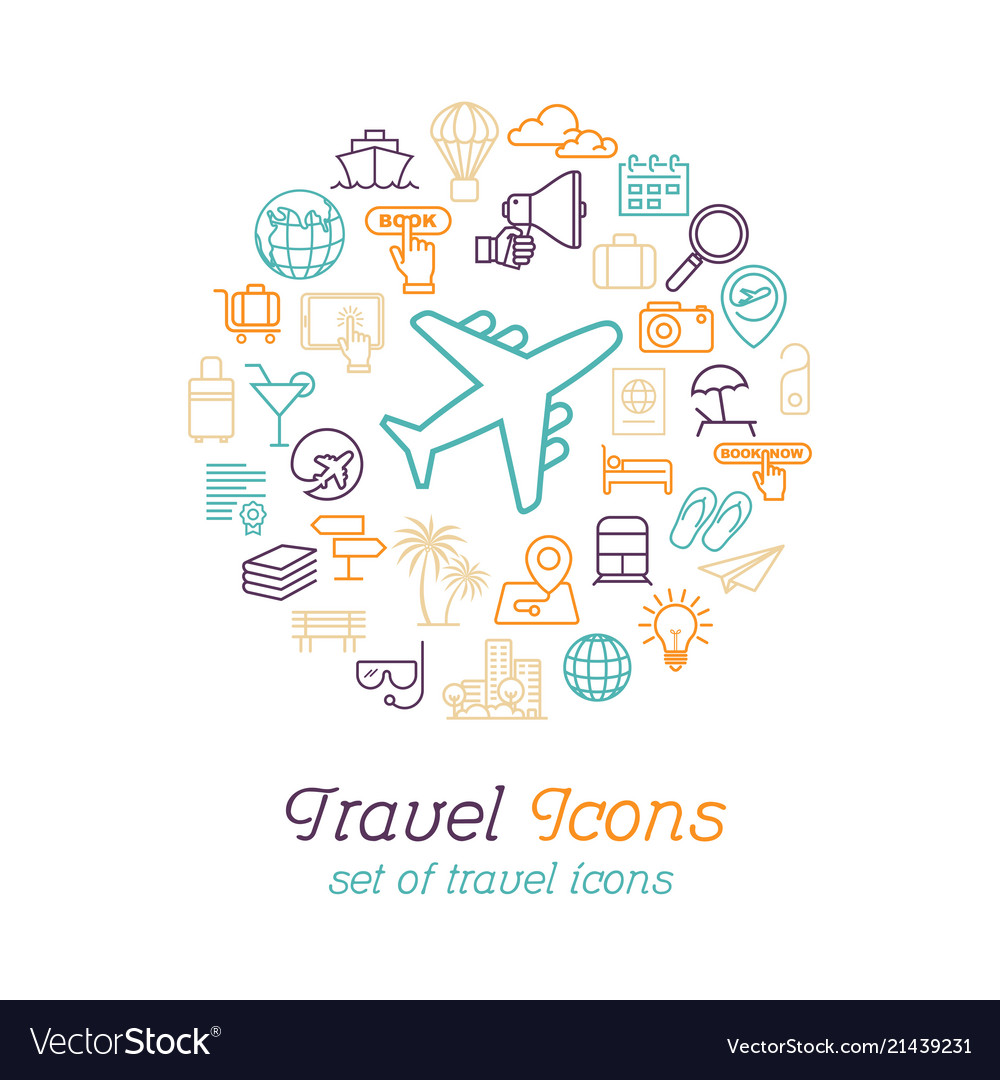 Round line travel icons concept for traveling and