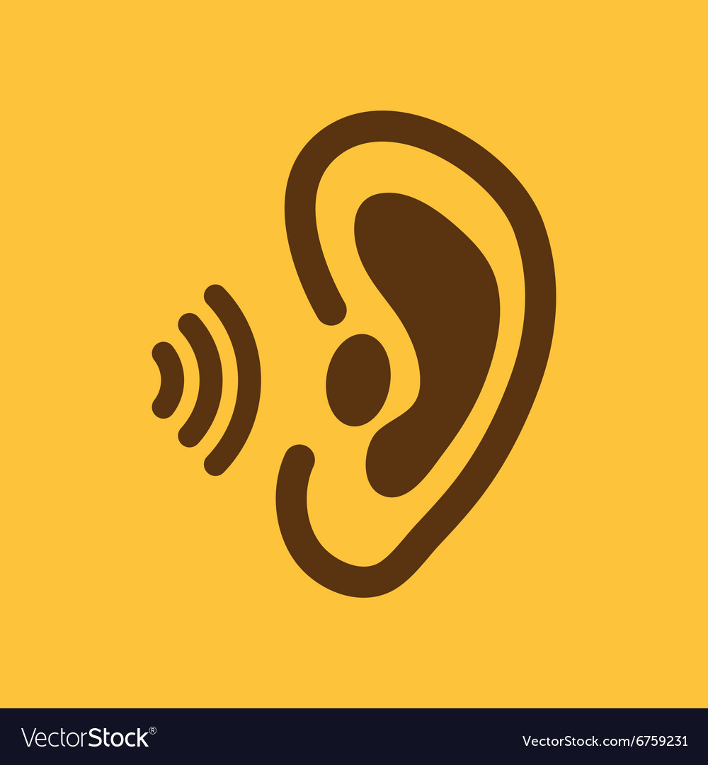 the ear icon sense organ and hear understand vector image