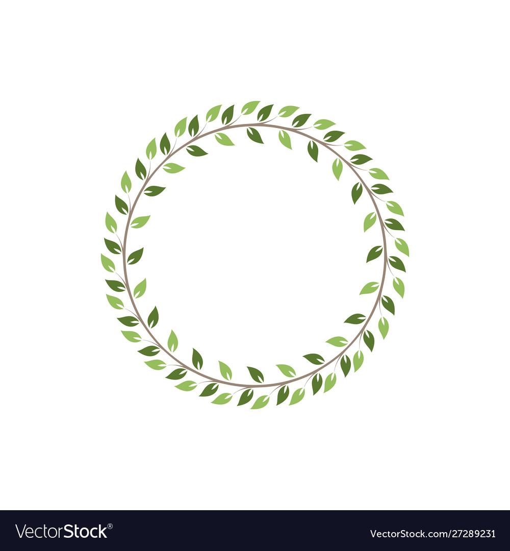 Vintage floral round frames green decorative ivy