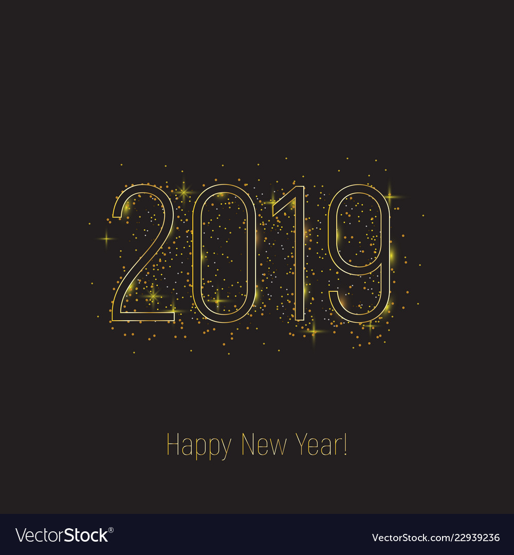 2019 happy new year black text golden glitter