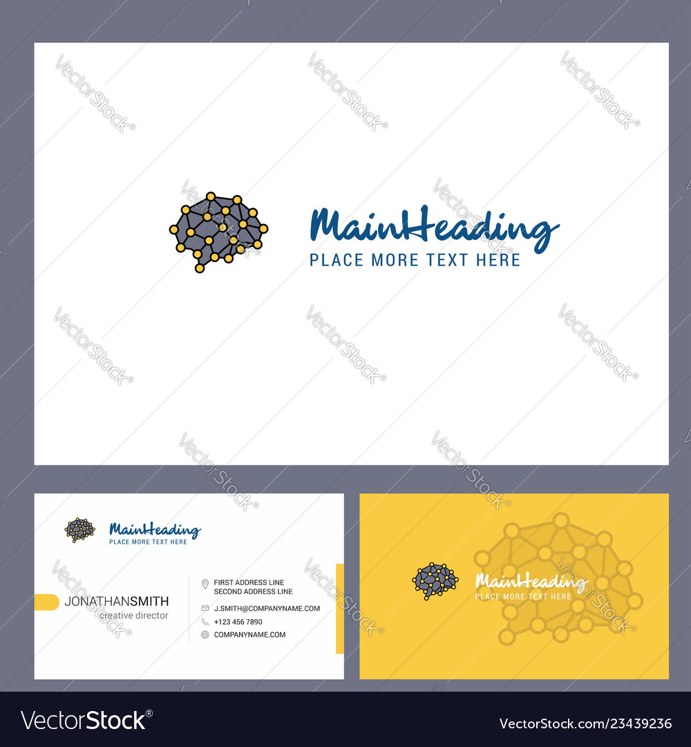 Brain logo design with tagline front and back