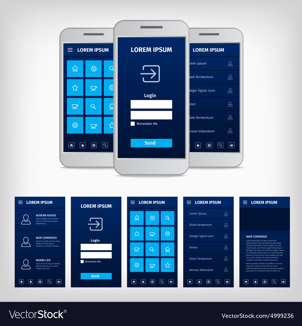 Conception of blue mobile user interface