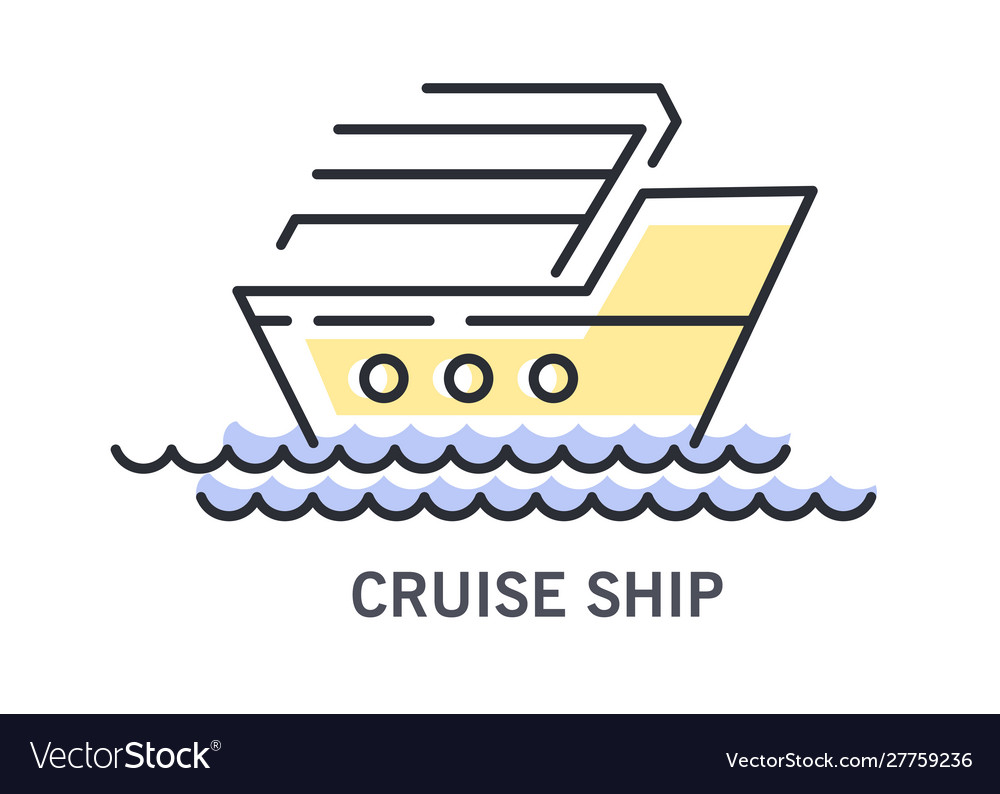 Cruise ship or sailboat on waves icon with text