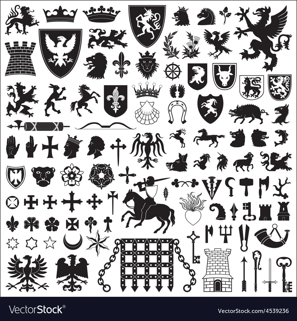 Heraldic Symbols And Elements Royalty Free Vector Image