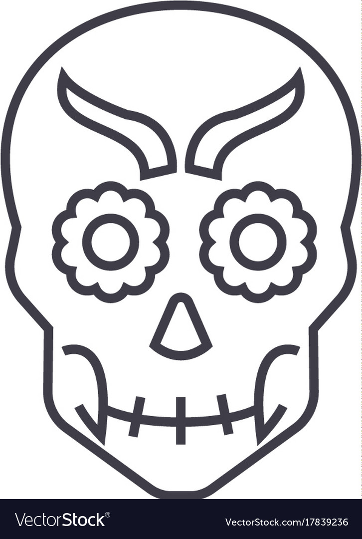 Mexican skull line icon sign