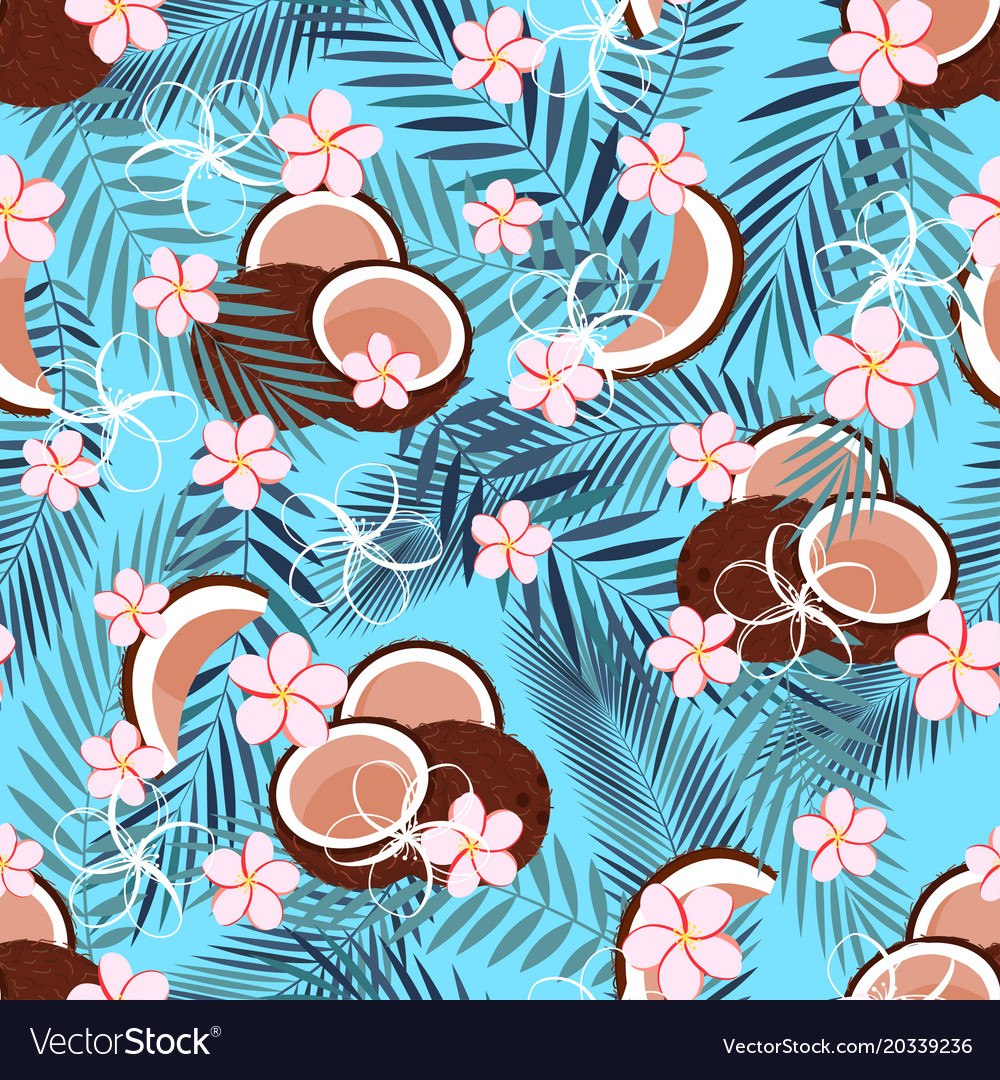 Pattern with coconut on blue vector image