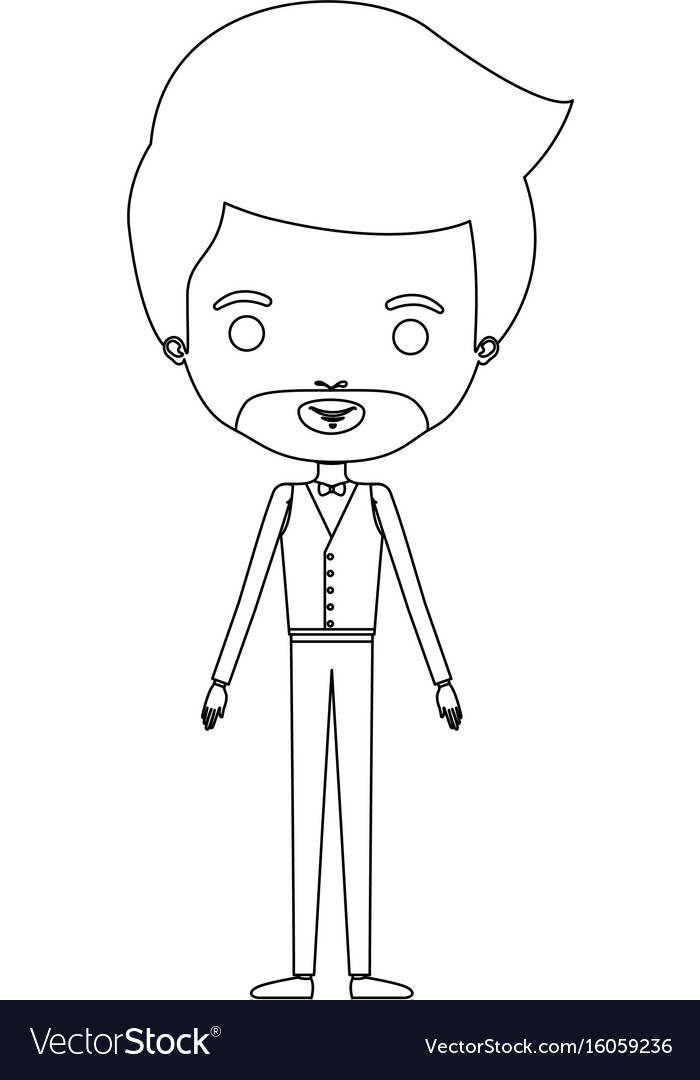 Silhouette caricature groom man in wedding formal vector image