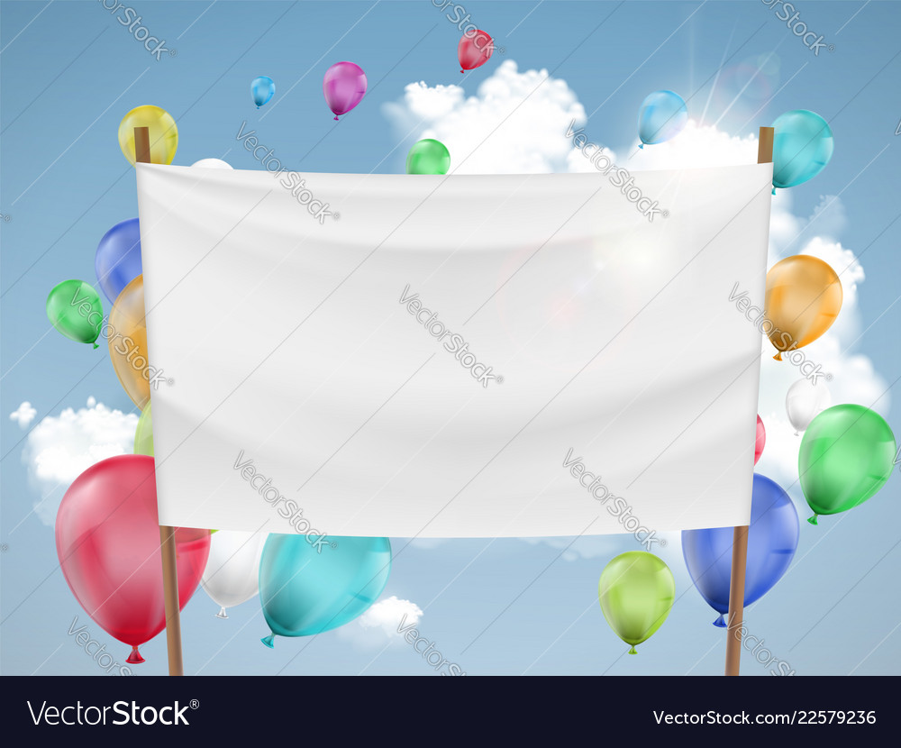 White fabric banner with multicolored balloons