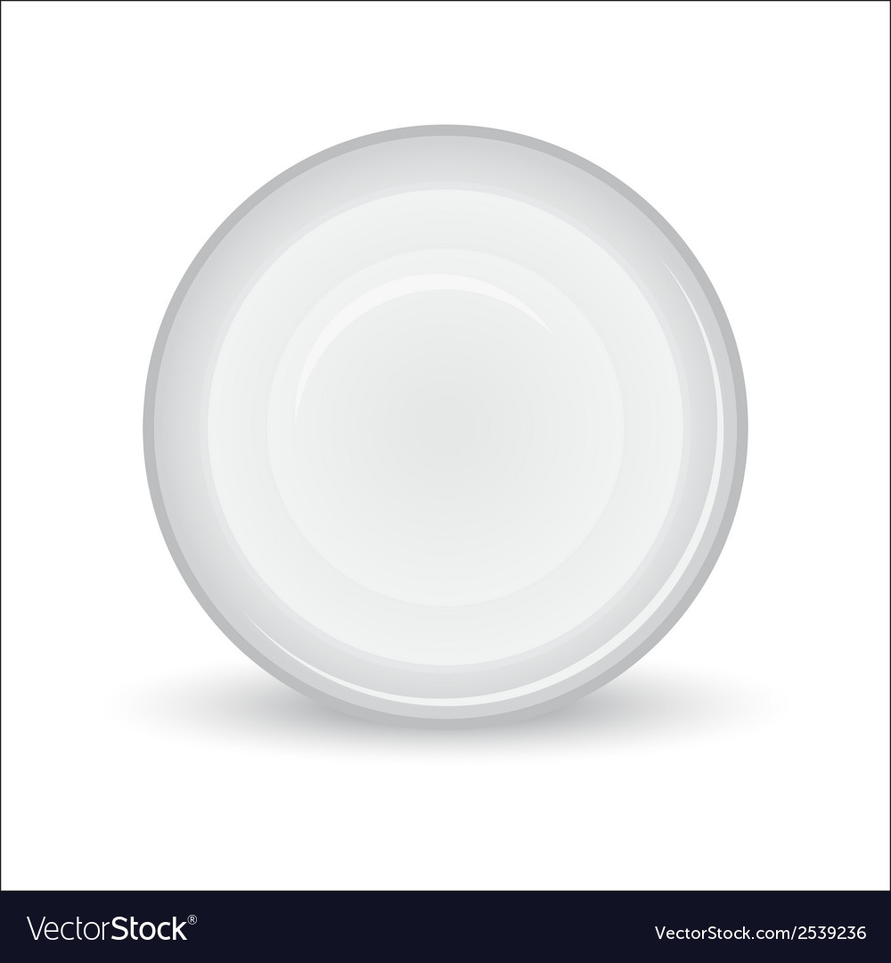 White plate on a white background vector image