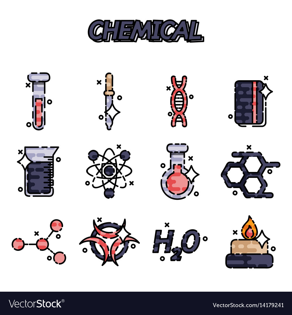 Chemical flat concept icons