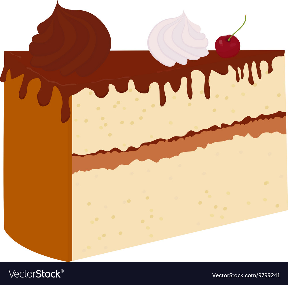 Chocolate cake with cherry isolated on a
