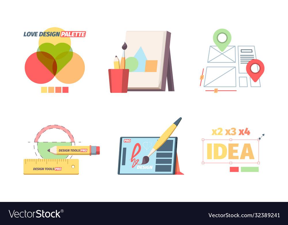 Designer graphic tools set creative color