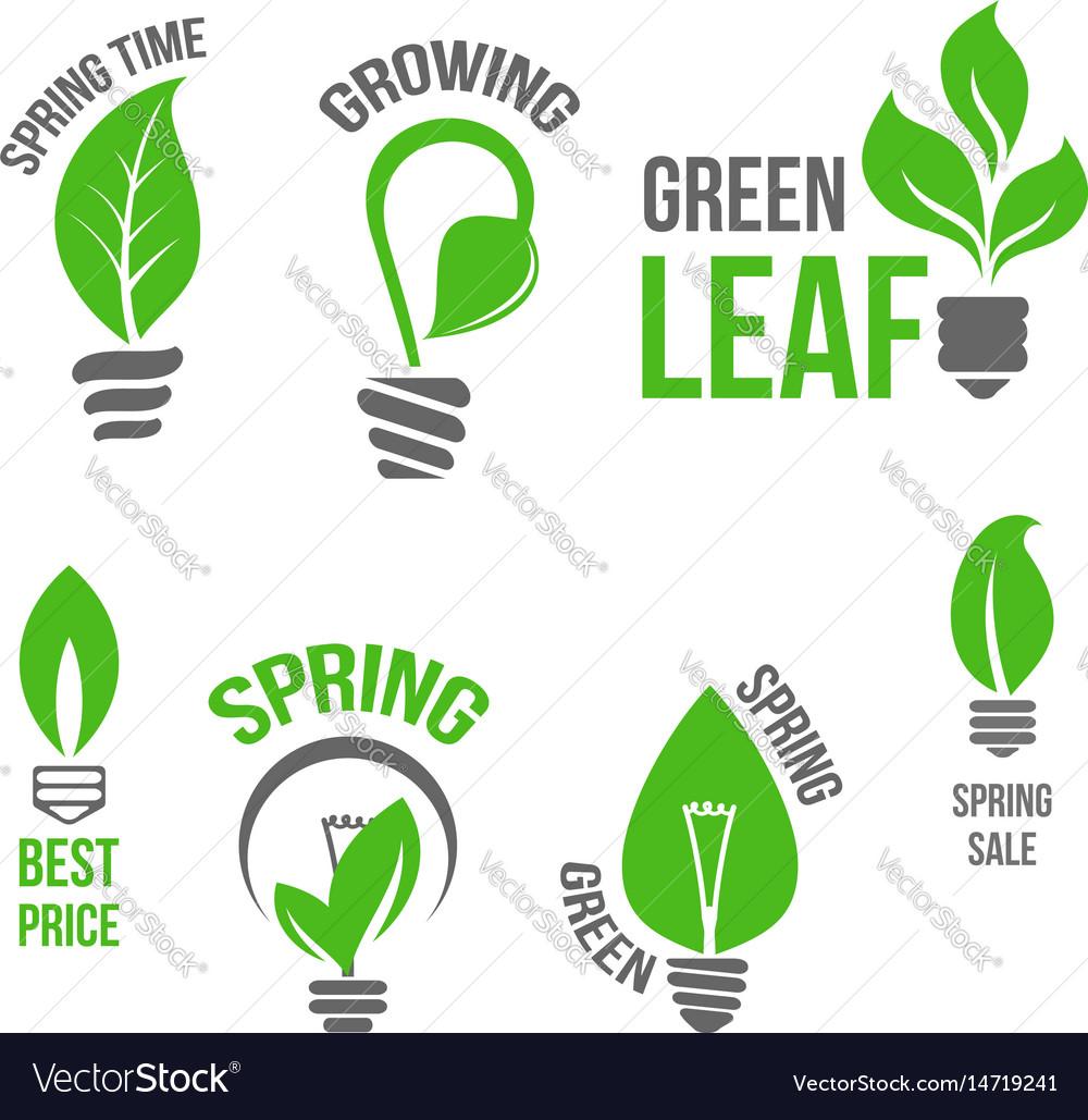 Isolated Green Light Bulb Spring Leaf Icion Vector Image