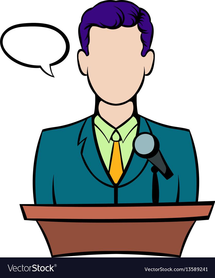 Orator speaking from tribune icon icon cartoon vector image