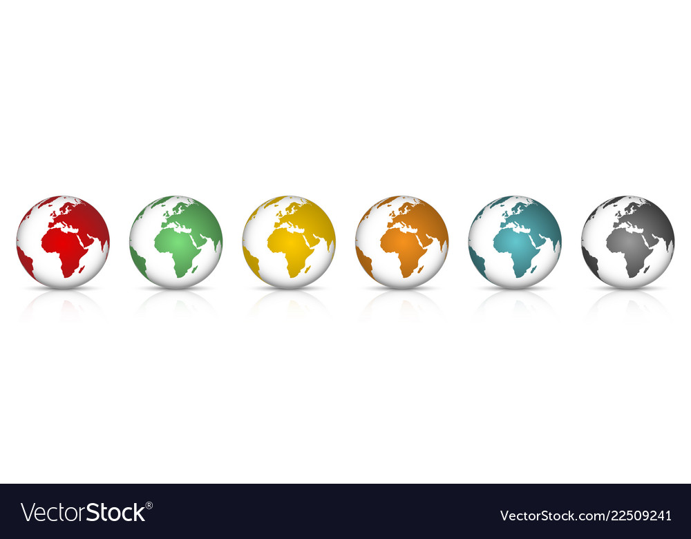 Set 3d colorfull earth globe with shadow