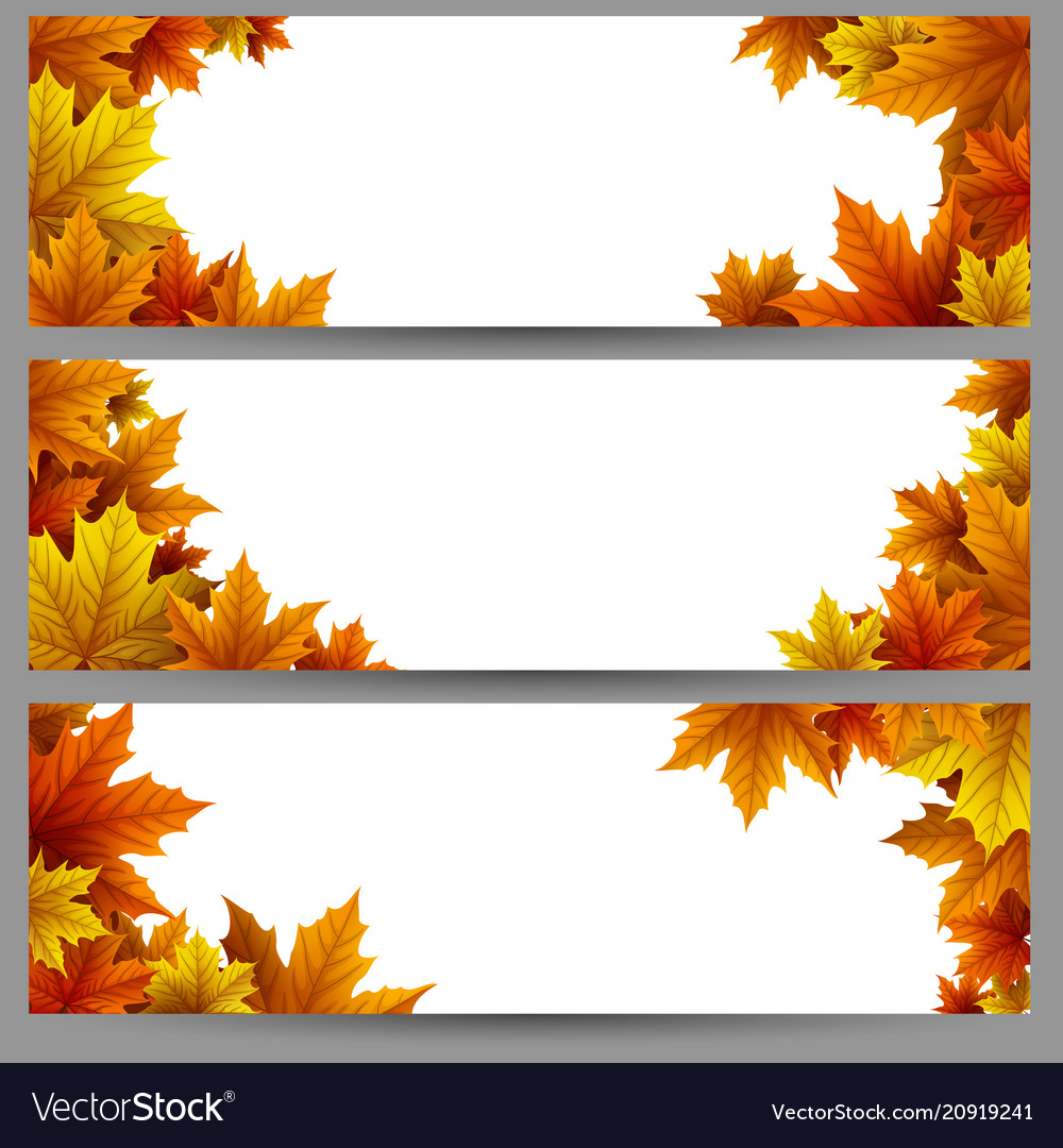 Set of autumn leaves banners