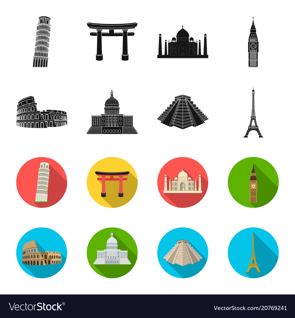 Sights of different countries blackflet icons in