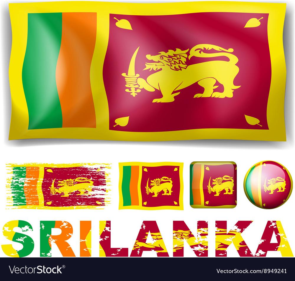 Sri Lanka flag in different designs vector image