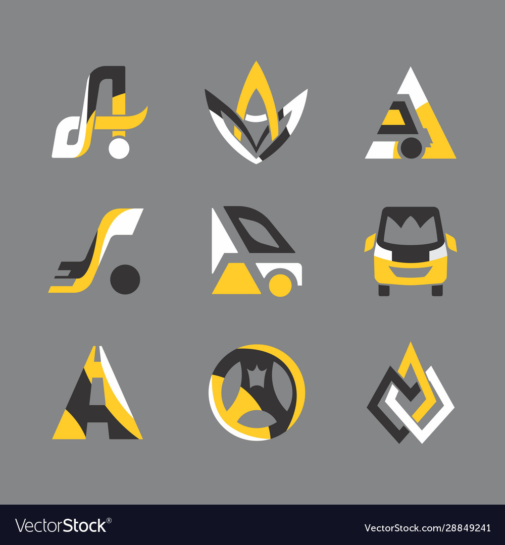 Taxi service logistic flat icons set
