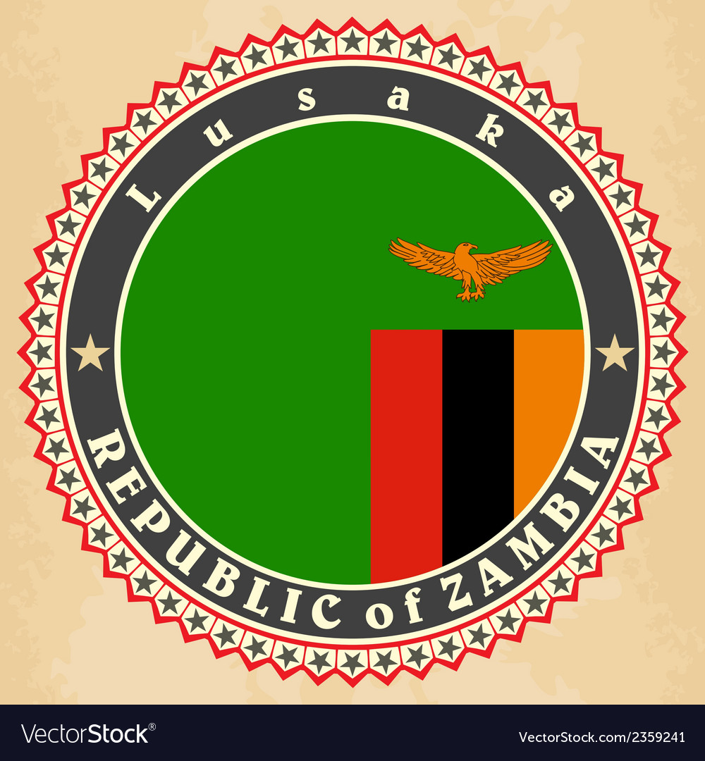 Vintage label cards of Zambia flag