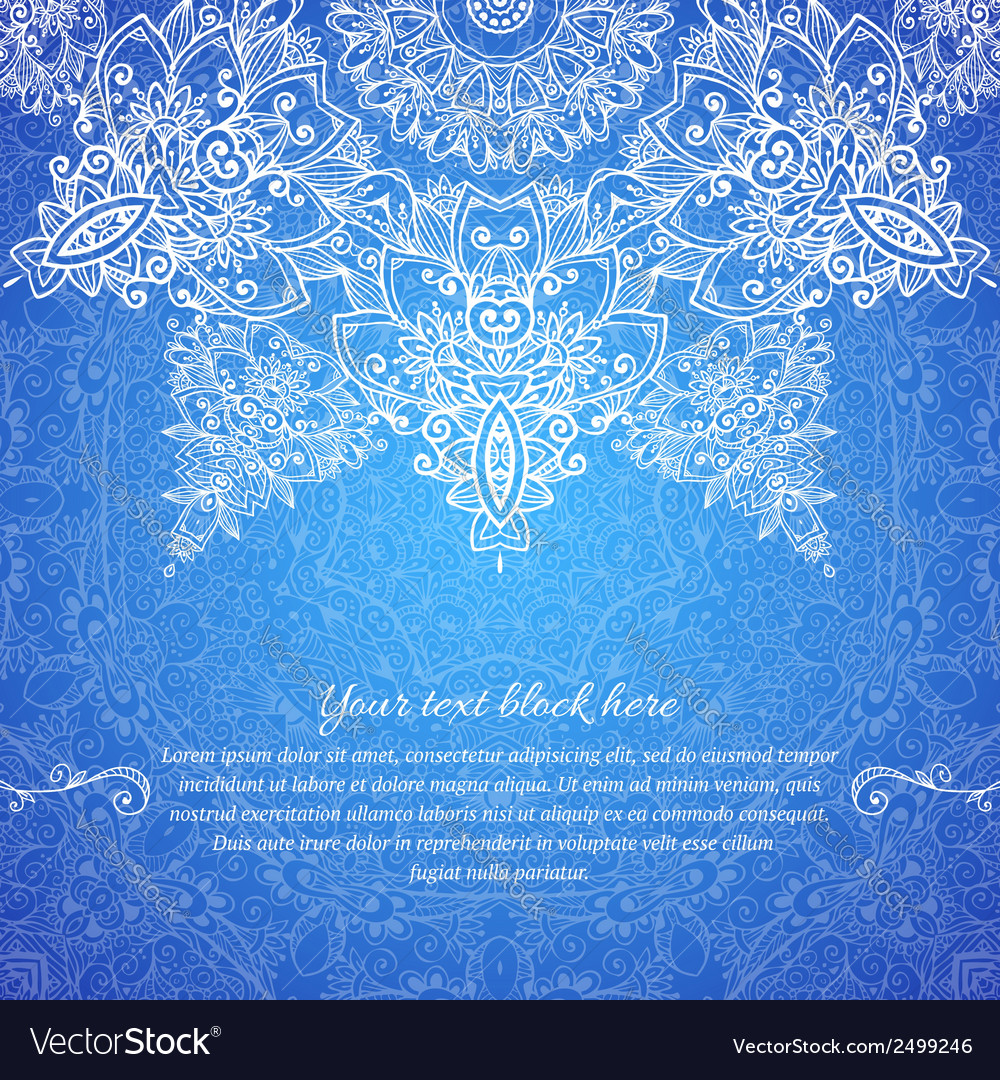 Blue ornate vintage wedding card background