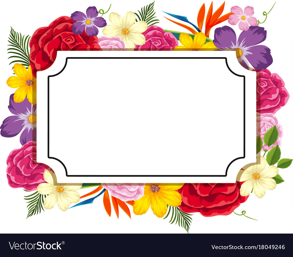 border template with colorful flowers royalty free vector