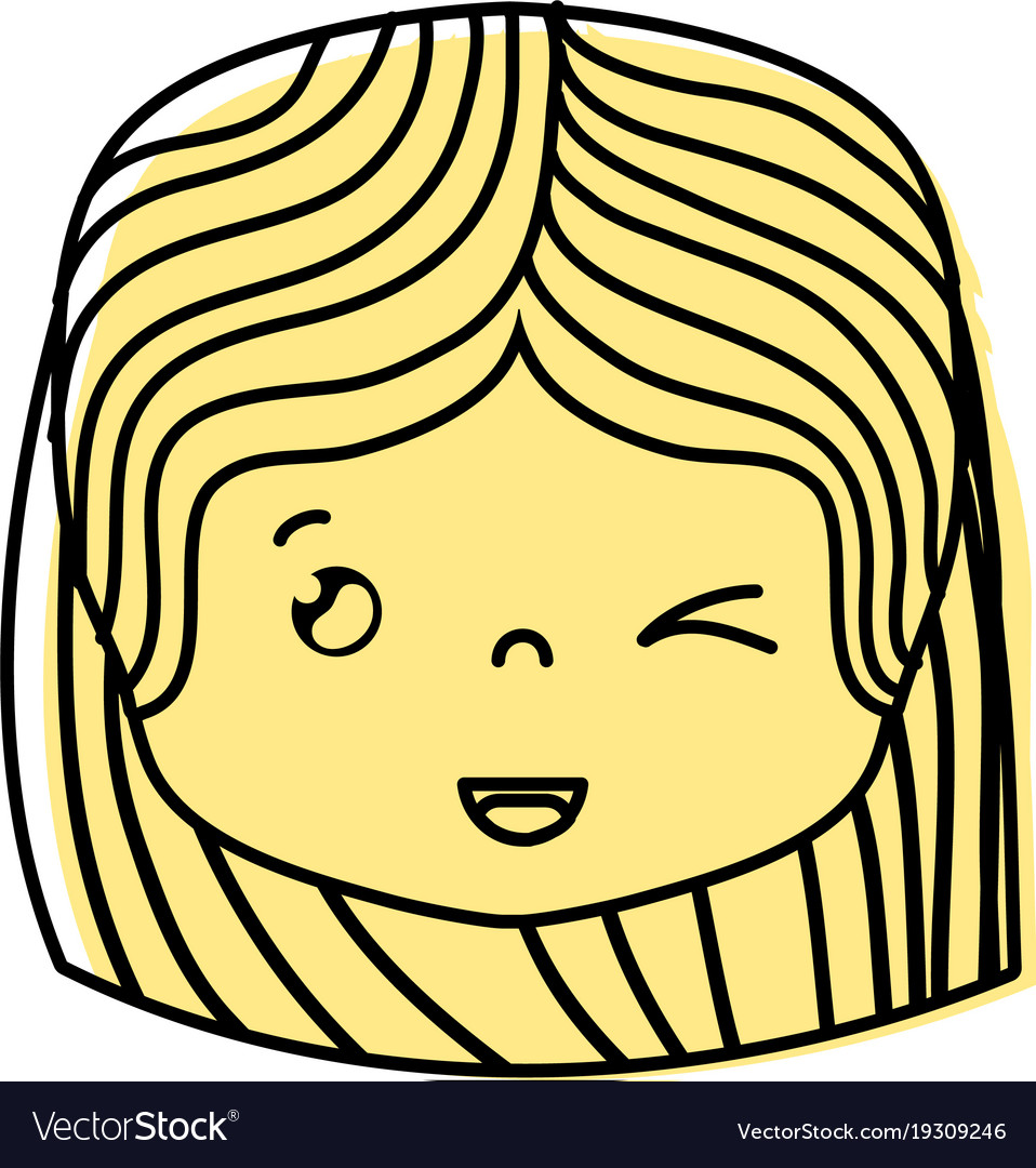 Color girl head with hairstyle and funny face vector image