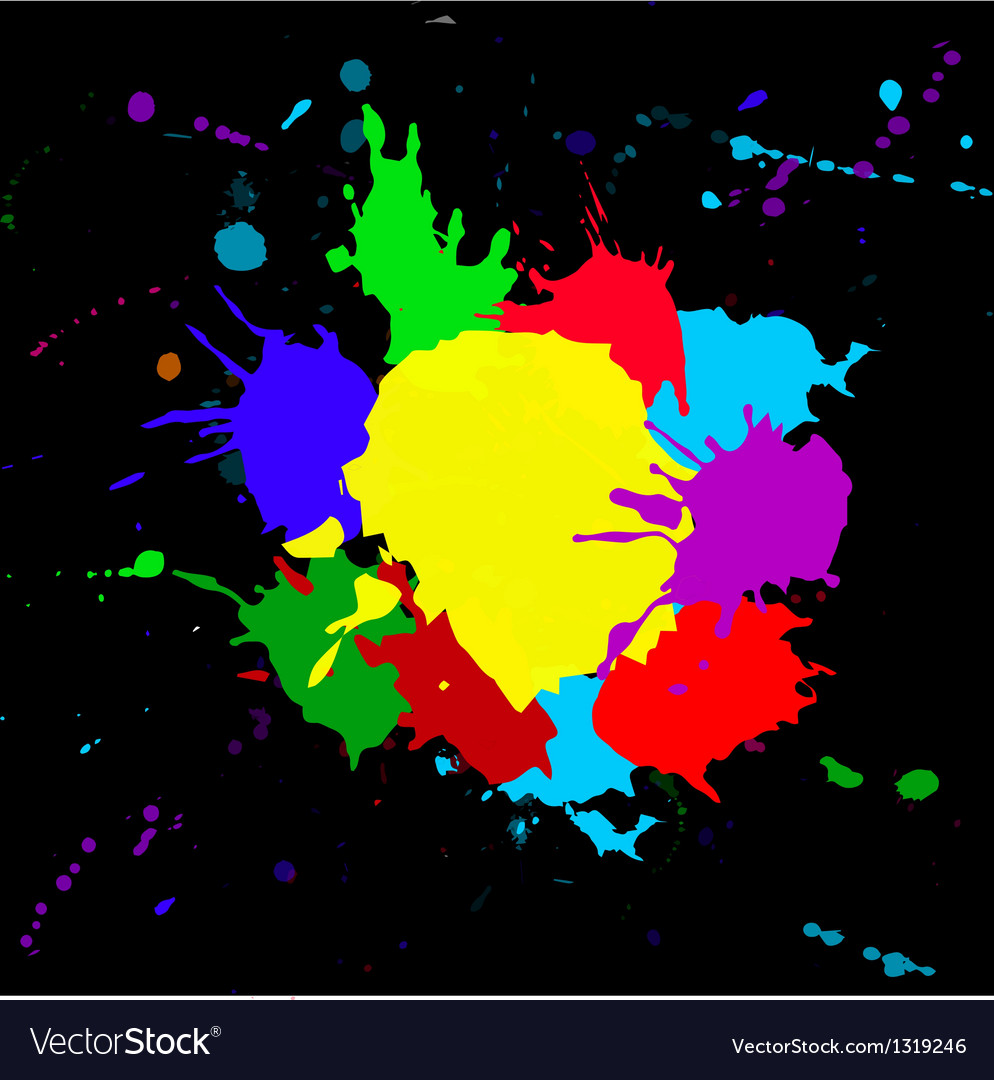 Colorful splashesh isoleted on black bacground vector image