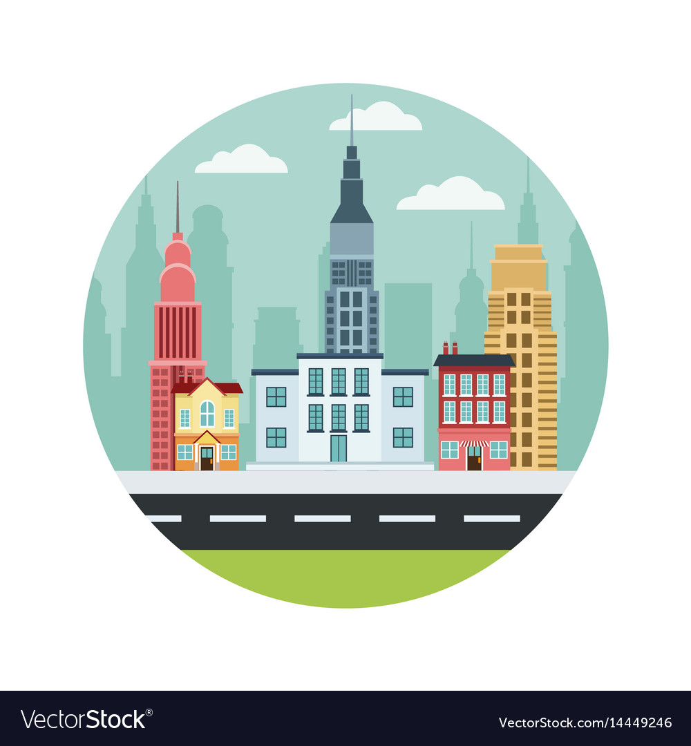 Commercial Street Town Buildings Houses College Vector Image