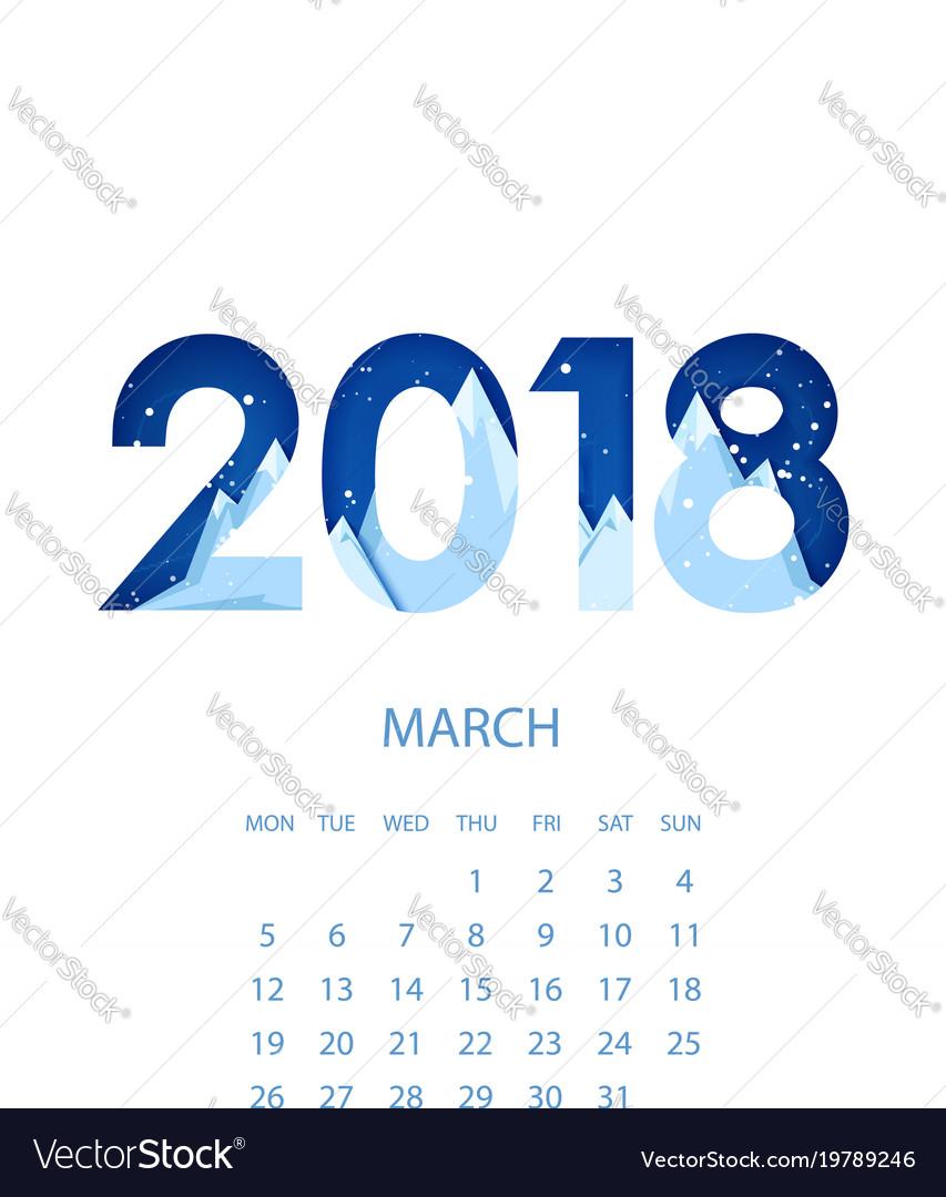 Design template calendar 2018