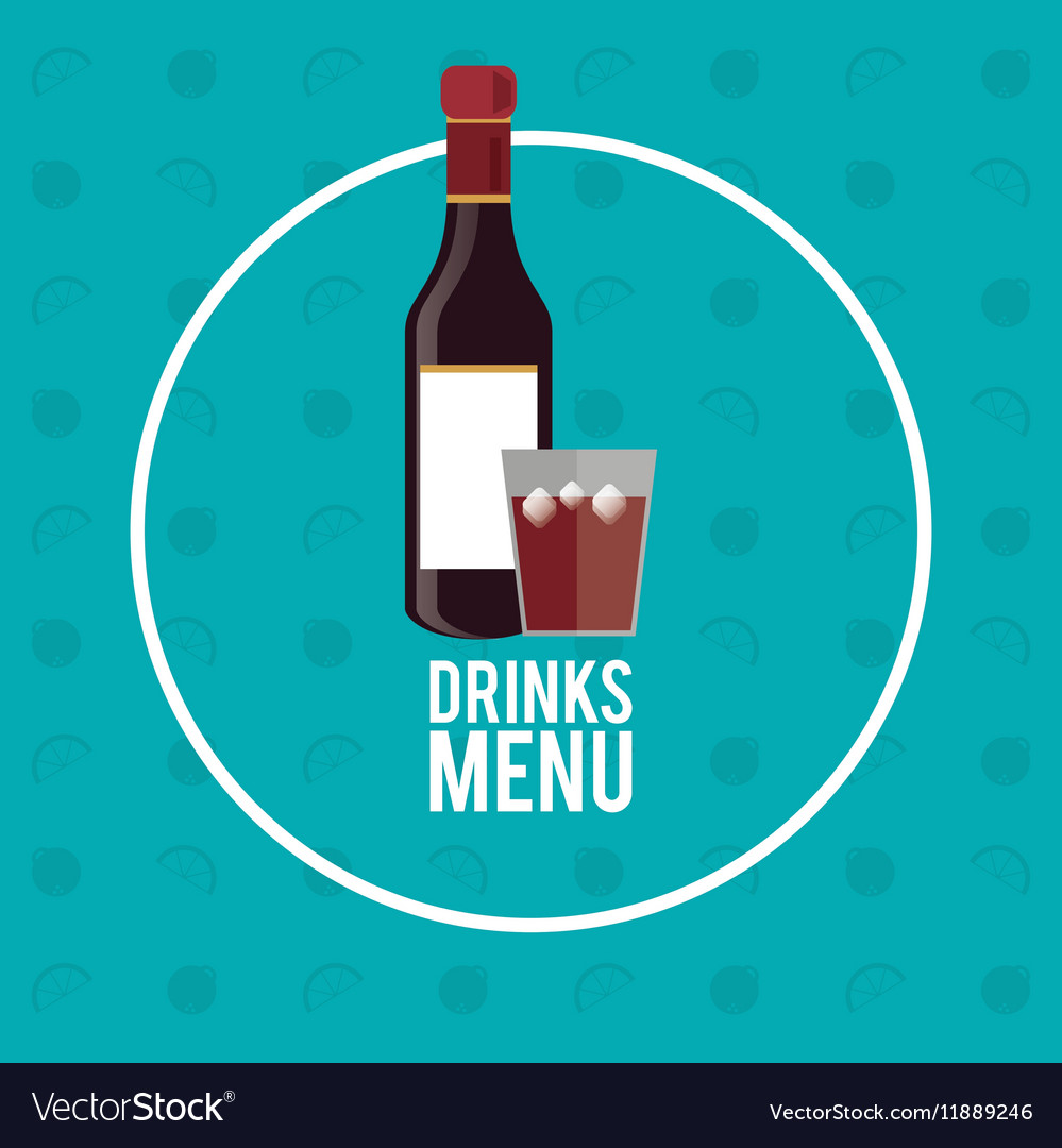 Drinks menu bottle whiskey circle fruit background vector image